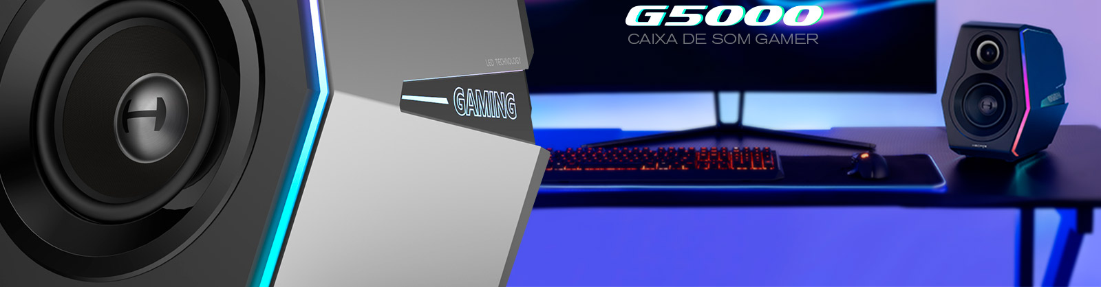 caixa de som gamer com LED dinâmico
