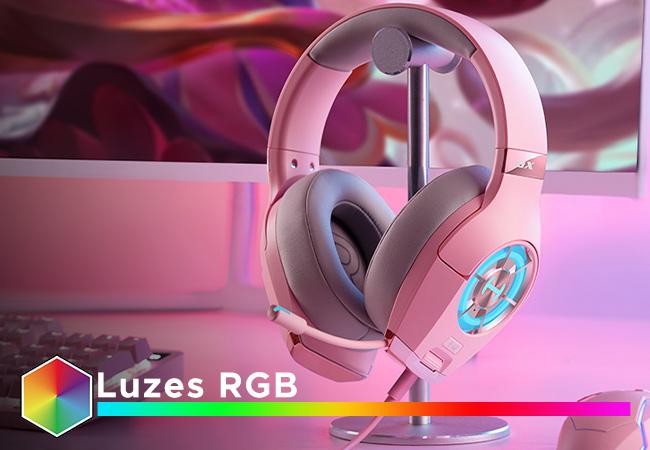 headset rosa com RGB