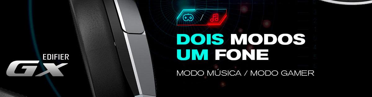 Headset Gamer Modo música e modo Gamer