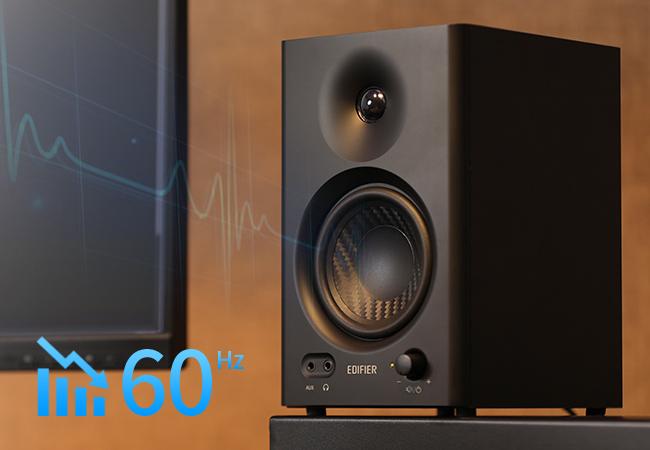 monitor de audio com graves sem distorção