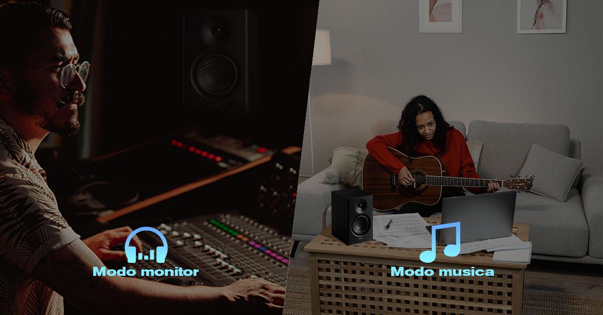 monitor de audio com modos de som