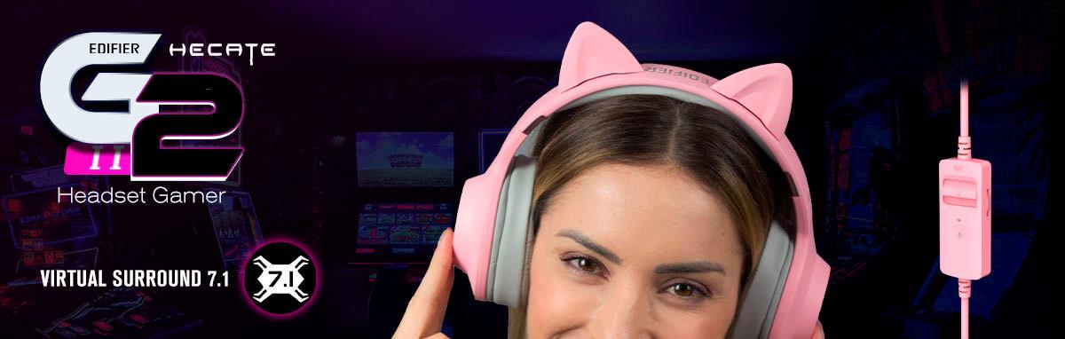 Headset Gamer com orelha de gato